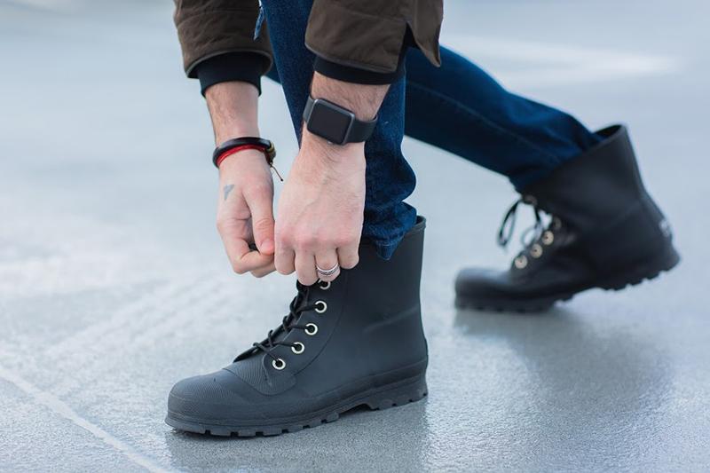 Roma Epaga Matte Black Men's Rain Boots, perfect for Father's Day