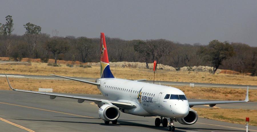 Airlink's Embraer E-Jet arrives at Victoria Falls International Airport.